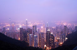 Bird eye view from the Peak Hongkong twinlight Royalty Free Stock Image