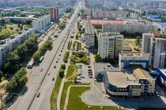 Bird eye view on Permyakova street. Tyumen. Russia Royalty Free Stock Photography