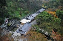 Bird eye view perspective of Japanese ancient buildings in Kyoto. Japan in Autumn stock photos