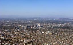 Bird-eye view of Phoenix, AZ. Arizona capital city of Phoenix; bird-eye view of downtown stock photography
