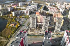 Bird eye view on residential districts in Tyumen Royalty Free Stock Photography