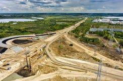 Bird eye view on road construction. Tyumen. Russia Stock Image