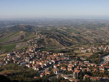 Bird eye view of San Marino, Panorama view from fortress Royalty Free Stock Photo