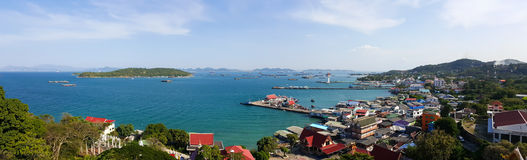 Bird eye view of Sichang island. Thailand stock photo