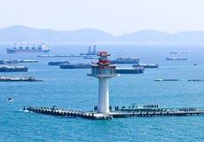 Bird eye view of Srichang island Stock Images