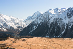 Bird-eye view to Hooker Valley and mt Cook Royalty Free Stock Photography