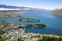 Bird-eye view to lake Wakatipu and Queenstown, New Zealand. View to lake Wakatipu and Queenstown, New Zealand Royalty Free Stock Image