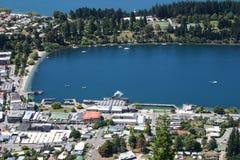 Bird-eye view to Queenstown, New Zealand Stock Image