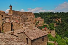 Bird eye view to the roofs of Sorano, Tuscany stock photo