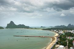Town of Prachuap seafront in Prachuap Khiri Khan province of Thailand. stock image