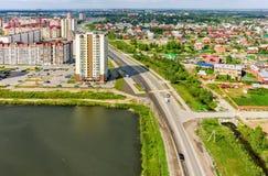 Bird eye view on Tura neighborhood. Tyumen. Russia. Tyumen, Russia - July 29, 2015: Aerial view on city quarters. Tura neighborhood. Zapadno-Sibirskaya Street Stock Image