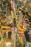 Bird eyes view of Bangkok main traffic intersection Royalty Free Stock Photography