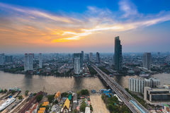 Bird eyes view of city town at sunset Royalty Free Stock Photography