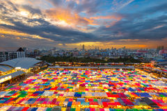Bird eyes view of Multi-colored tents /Sales of second-hand mark Stock Photography