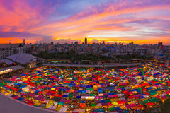 Bird eyes view of Multi-colored tents /Sales of second-hand mark Royalty Free Stock Photography