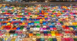 Bird eyes view of Night Free Market Stock Images