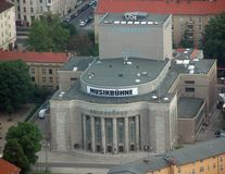 Bird eyes view of Volksbuhne `People`s Theatre` stock images