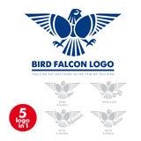 Bird falcon logo 01. Template corporate company signs . Logo , corporate style in the shape of a bird with outstretched wings . Bird eagle . Strict, serious logo Stock Illustration