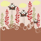 Bird family. Birds in forest - colorful background stock illustration
