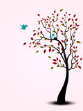 Bird family on the tree - full color royalty free illustration