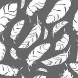 Bird feathers hand draw silhouette. Bird hand draw grayseamless pattern gray Stock Photo