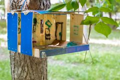 Free Bird Feeder Hanging On A Tree In Moscow, Russia Royalty Free Stock Images - 133046569
