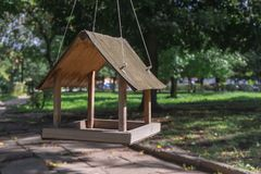 Free Bird Feeder In The Form Of A House Hanging On A Tree In Park Stock Photos - 160777053