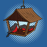 Bird feeder pop art style vector Royalty Free Stock Image