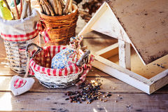 Bird feeder with seeds in country house in spring Stock Images