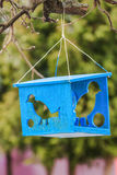 Bird feeder with silhouettes of birds Stock Image