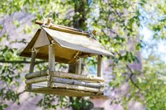 Bird feeder weighs on the tree. A bird feeder weighs on a tree in the park stock photography