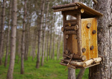 Bird feeder in a wooden house in the garden Royalty Free Stock Photo