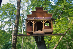 Bird feeders. In the form of a house closeup stock image
