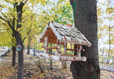 Bird feeders hanging on the avenue autumn park Royalty Free Stock Image