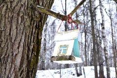 Bird feeders. In winter park Stock Photos
