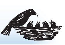 bird feeding 库存例证
