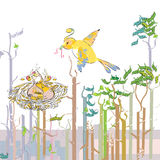Bird feeding the chicks. Bird feeding their chicks in the forest illustration and vector Royalty Free Stock Photography