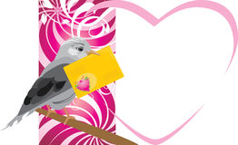 Bird with festive envelope. Valentines card Stock Photo