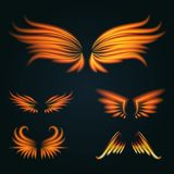 Bird fire wings vector fantasy feather burning fly mystic glow fiery burn hot art wings illustration on black. Flame bird fire wings fantasy feather burning Stock Photography