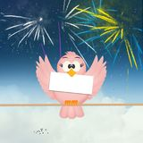 Bird and fireworks explosion. Funny illustration of bird and fireworks explosion Royalty Free Stock Photography