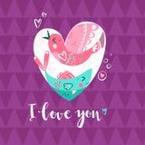 Bird and fish in the heart. Romantic composition. Metaphor of un. Derstanding in love. Vector illustration Stock Images