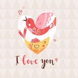 Bird and fish in the heart. Romantic composition. Metaphor of un. Derstanding in love. Vector illustration Royalty Free Stock Images
