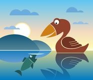 Bird and fish, lake. Bird looking for fish, mirror lake, hills and clouds Royalty Free Stock Images