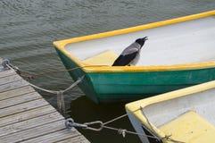 Bird in fisherman boat tied at dock Stock Photo