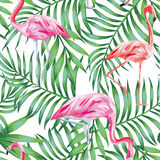 Bird flamingo on a background of tropical leaves seamless patter Royalty Free Stock Photo