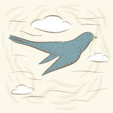 Bird in flight, Swallow. cute birds. Hand drawn, cartoon style. suitable for printing on a t-shirt or sweatshirt, shirt design, print bird, sketch bird Royalty Free Stock Image