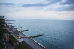 Bird flight view of Sochi seacoast Stock Photos