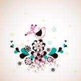Bird and flora wallpaper Royalty Free Stock Image