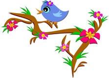 Bird on a Floral Branch stock illustration