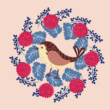 Bird in floral frame Stock Images